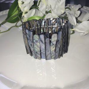 Rustic cut handmade shell bracelet